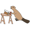 Beaver Sawing Wood Picture
