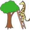 Giraffe on a Ladder Picture