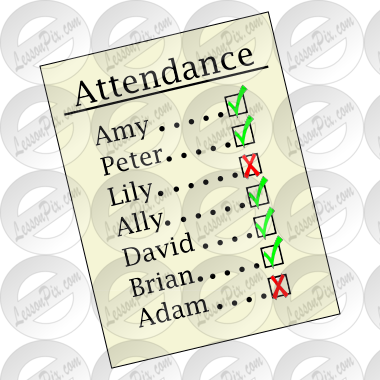 Cartoon of an attendance checklist with make believe names.